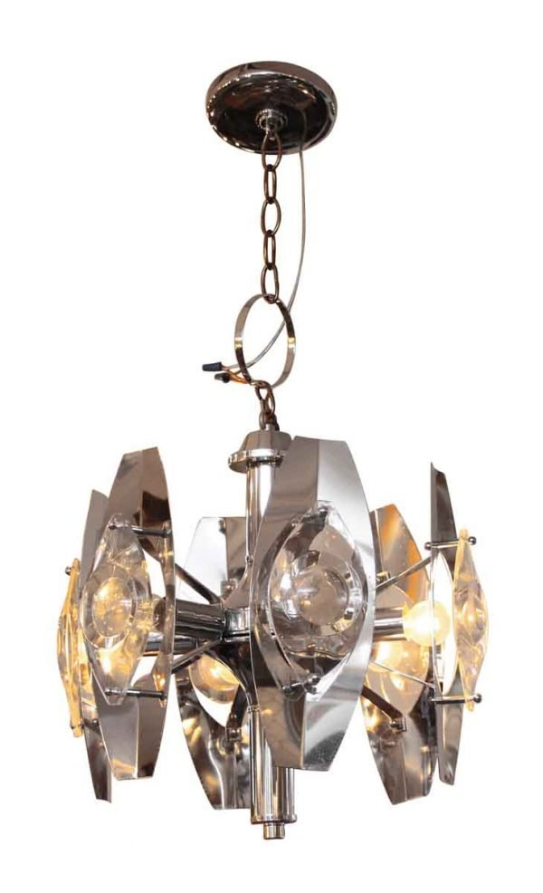 Mid-Century Modern Chrome Over Brass Six Arm Light - Chandeliers