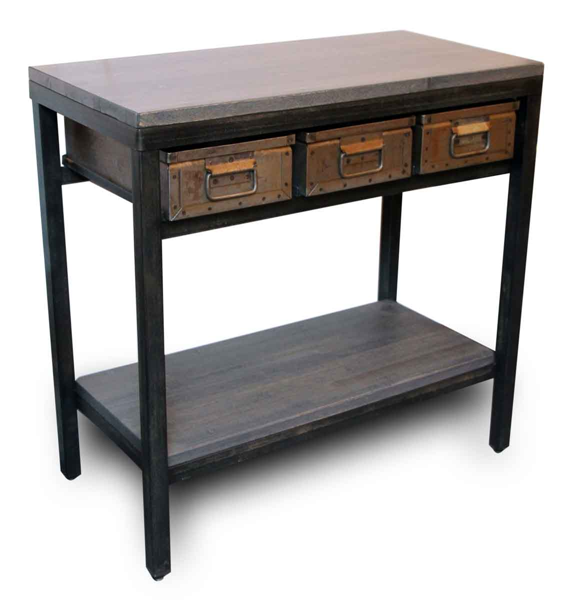 Antique Coffee Tables With Drawers: Console Table With Three Metal Drawers