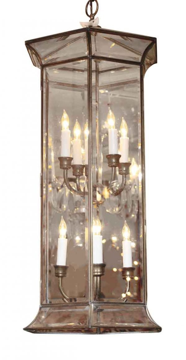 Eight Light Six Sided Beveled Glass Lantern - Wall & Ceiling Lanterns