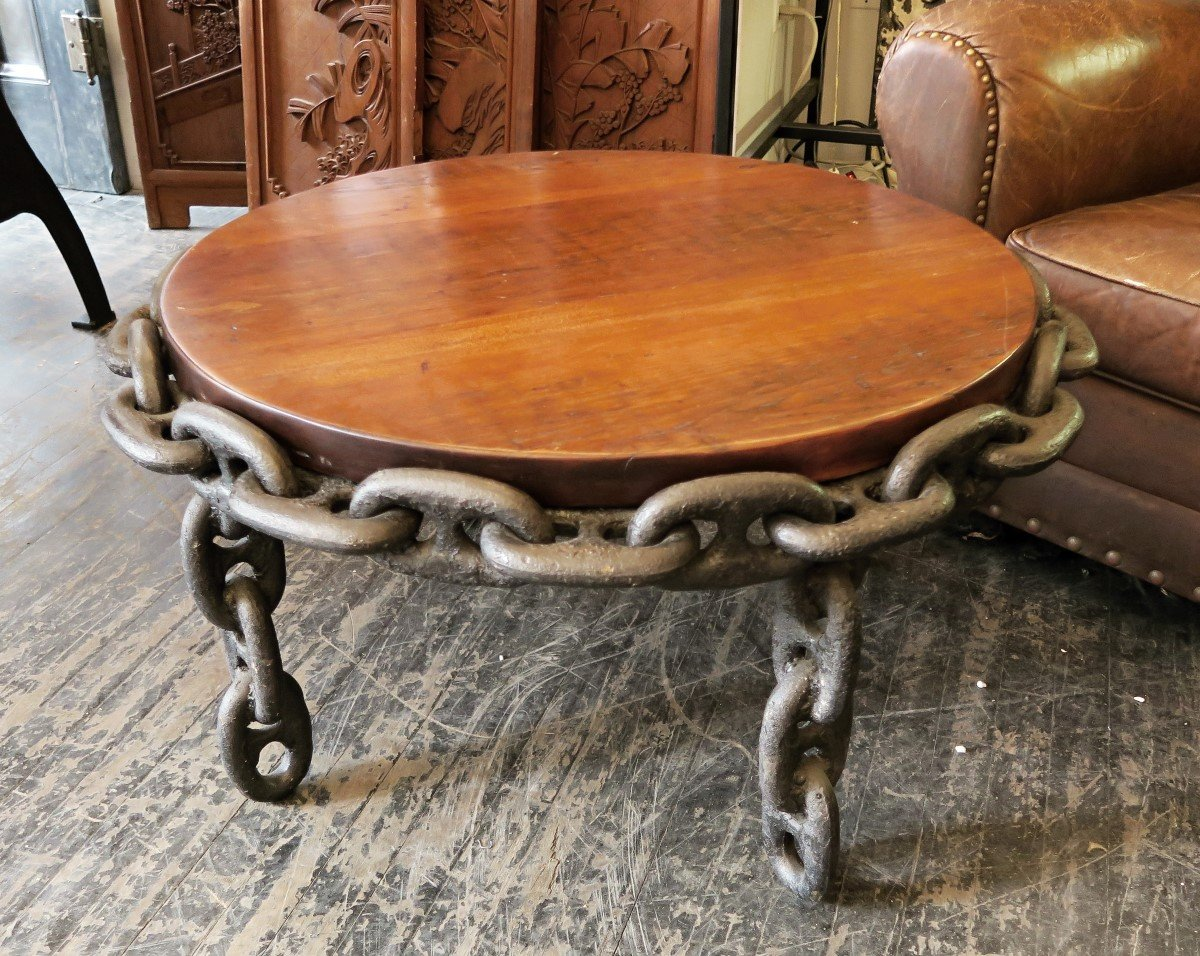 Antique chain table with pine top