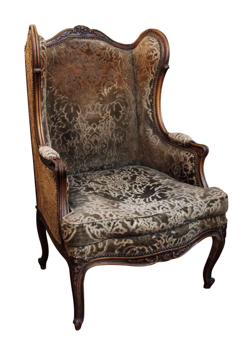 Bergere Chair With Floral Carved Wood Frame