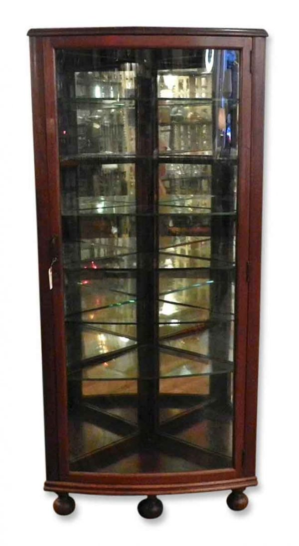 Mahogany Curved Corner Cabinet with Bun Feet - Cabinets