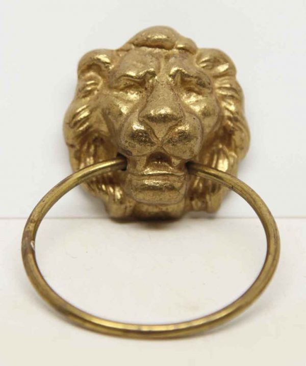 Single Brass Lion Head Drawer Pull - Cabinet & Furniture Pulls
