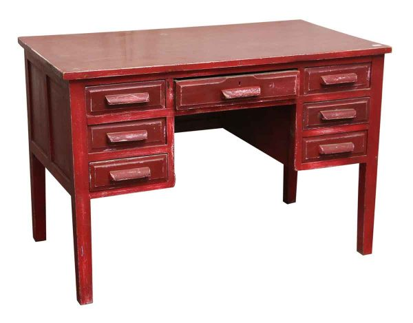 Painted Red Wood Desk - Office Furniture