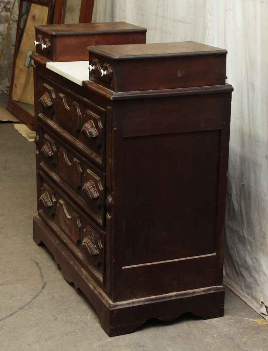 Dark Wood And Marble Top Five Drawer Dresser Olde Good