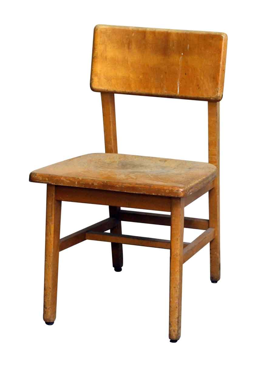 Old Wooden School Chair With Wide Seat Seating