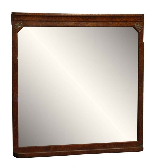 Burled Wood Frame Mirror with Figural Detail - Overmantels & Mirrors