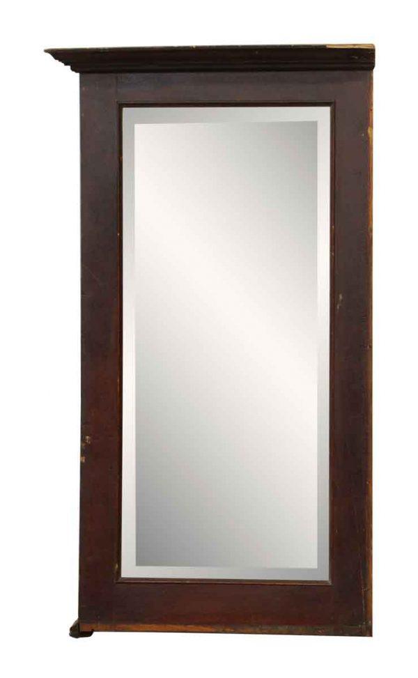 Tall Mahogany Frame Beveled Mirror - Antique Mirrors