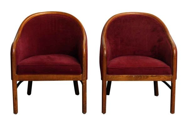Pair of Red Upholstered Chairs - Seating