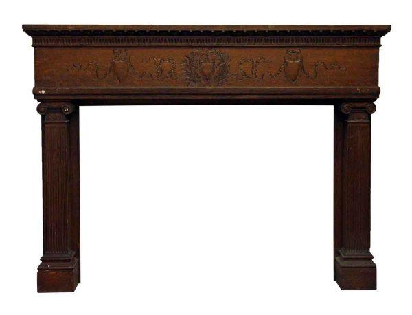 Extra Wide Carved Oak Mantel - Mantels
