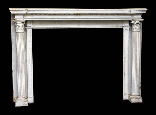 White Chunky Column Mantel with Graduated Shelf - Mantels