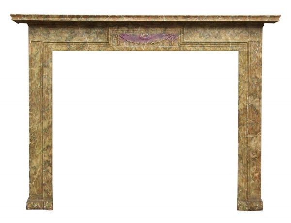 Wood Tan & Green Faux Finish Mantel - Mantels