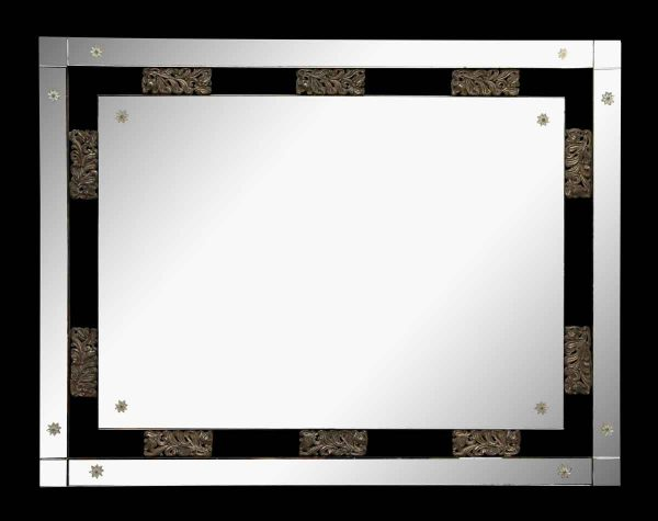 Rectangular Mirror with Brass Details - Antique Mirrors