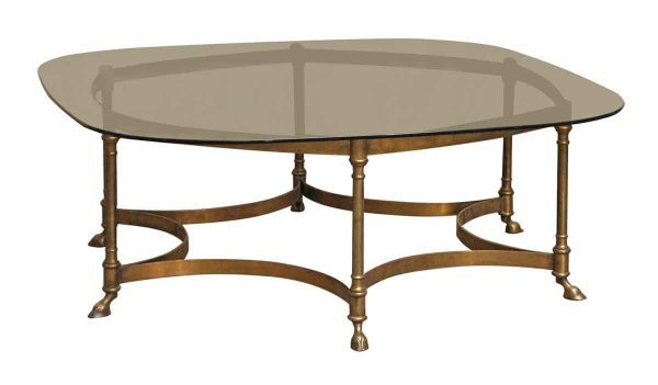 Mid Century Glass Top Table with Brass Frame - Living Room