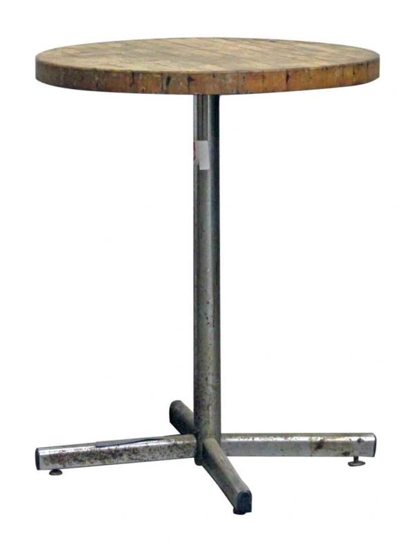 Round Wooden Bistro Table with Chrome Plated Base - Commercial Furniture