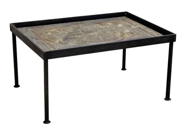 Iron Coffee Table with Decorative Tin Top - Altered Antiques