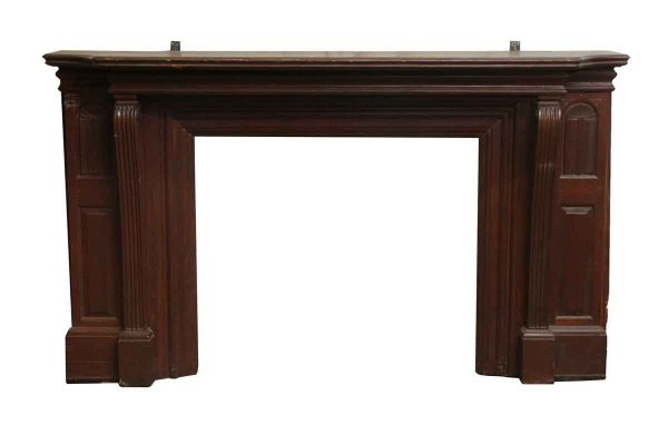 Wide Dark Wood Mantel with Side Panels - Mantels