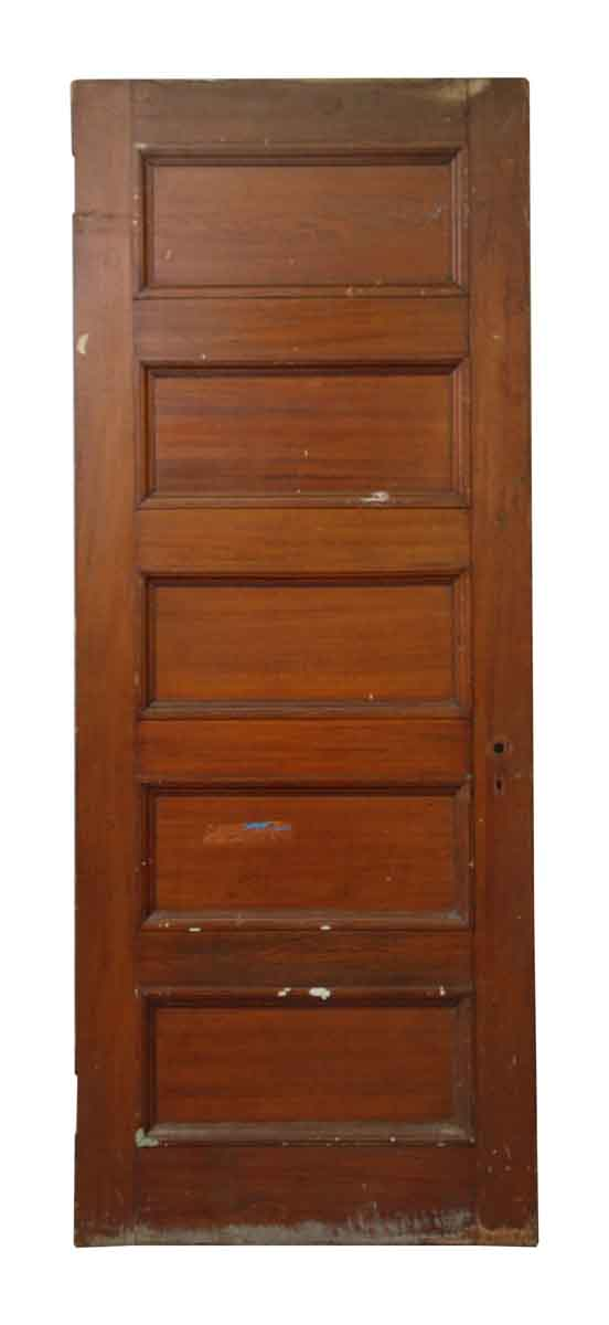 Five Horizontal Panel Dark Wood Door - Standard Doors