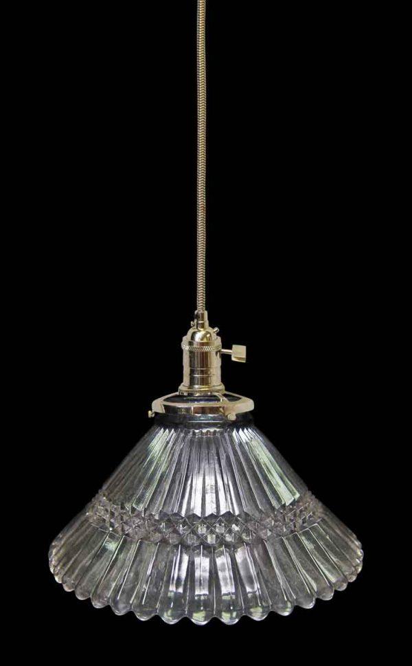 Vintage 5.5 in. Glass Holophane Pendant Light