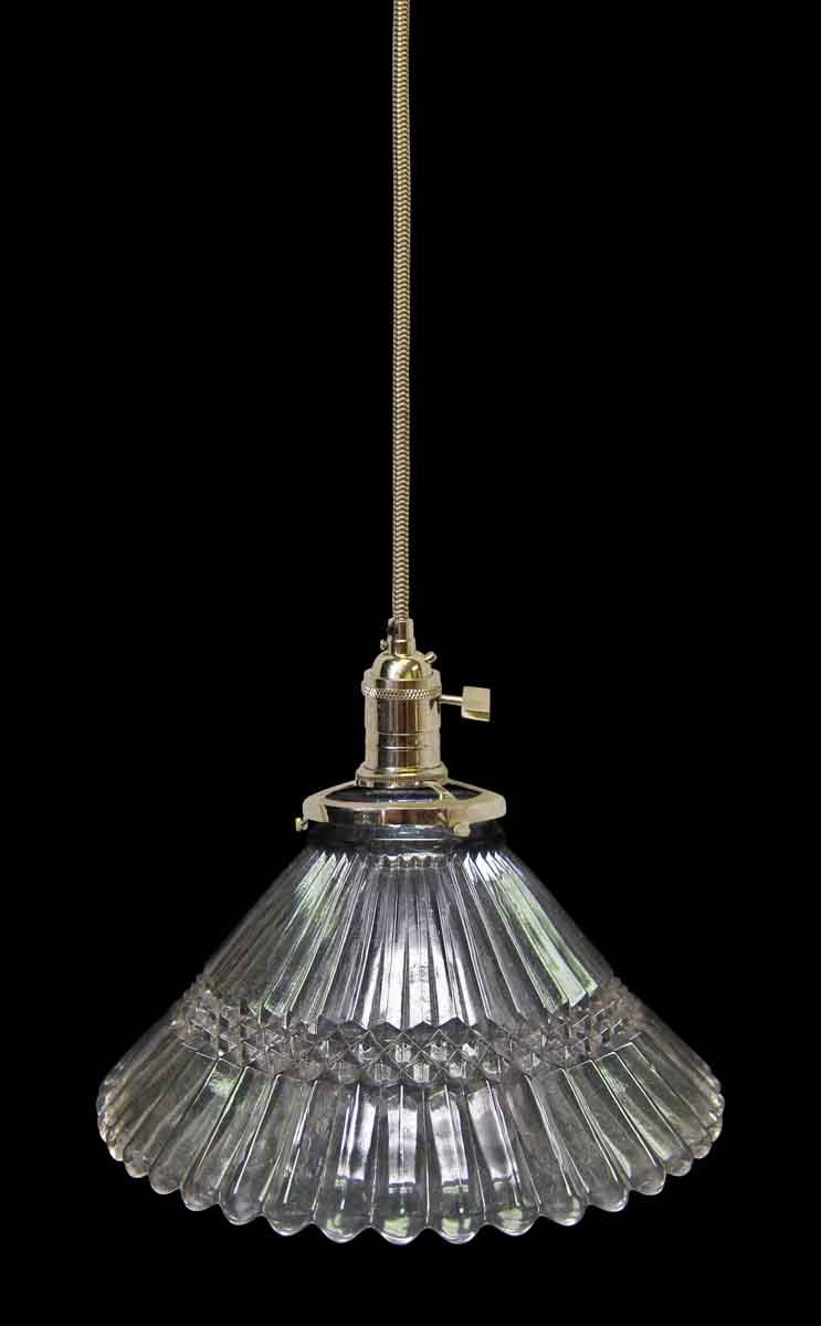 Vintage 5 5 in  Glass Holophane Pendant Light | Olde Good
