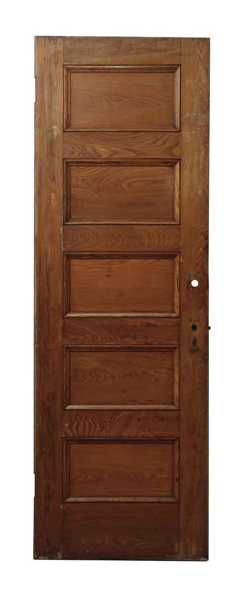 Five Horizontal Panel Brown Wood Doors - Standard Doors