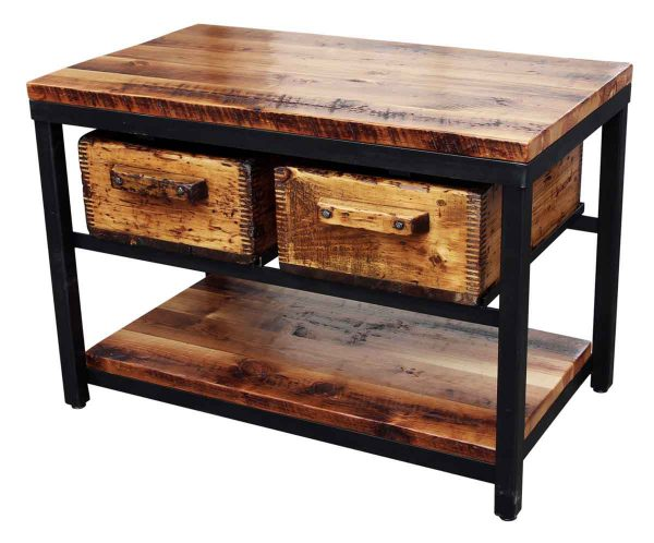 Pine & Steel Console with Two Salvaged Drawers - Altered Antiques