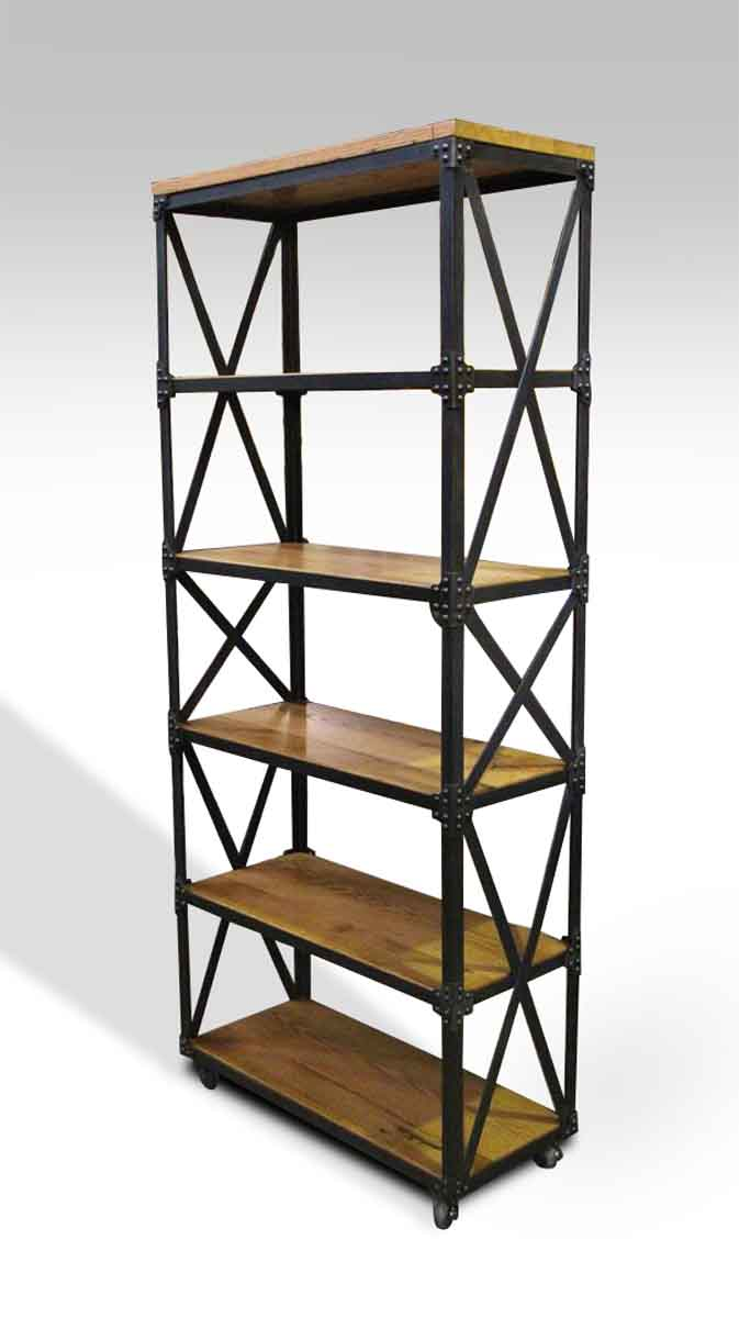 Oak & Steel Six Shelved Bookcase | Olde Good Things