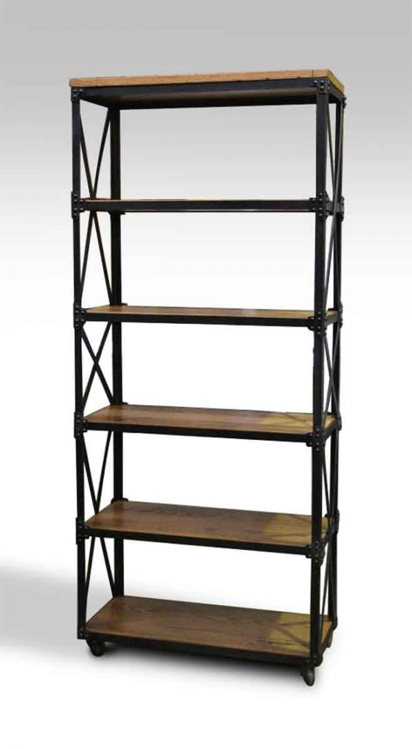 Oak & Steel Six Shelved Bookcase - Altered Antiques