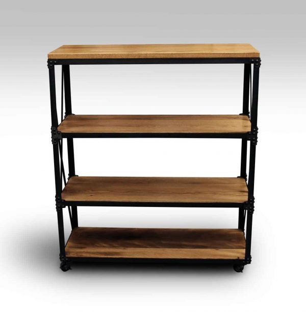 Oak & Steel Three Shelved Bookcase - Altered Antiques