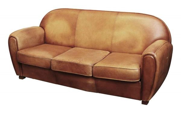 Leather Sofa with Three Cushions - Living Room