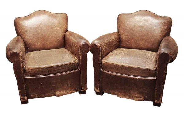 Pair of French Leather Club Chairs with Curved Back - Living Room