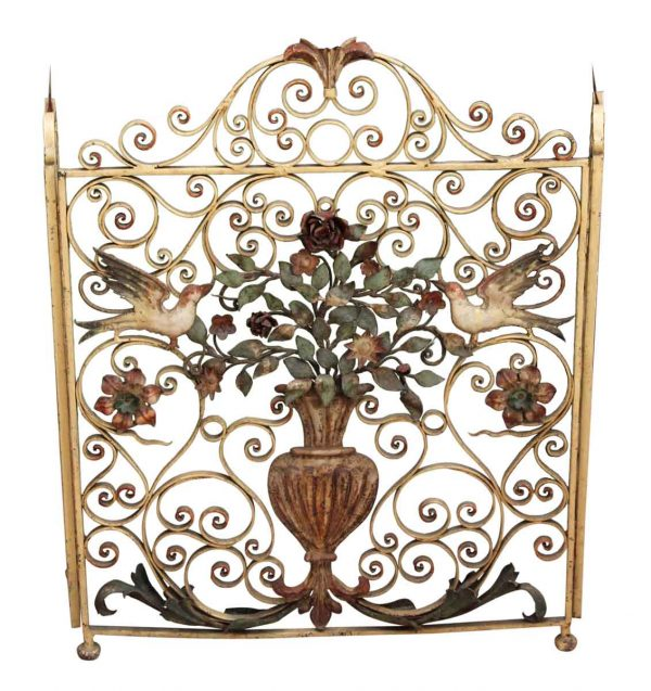 Wrought Iron Bird Fireplace Screen - Screens & Covers