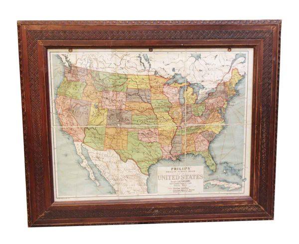 Wood Framed U.S. Map - Globes & Maps
