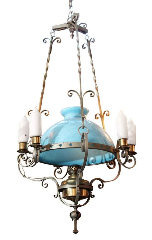 Electrified Hanging Oil Lamp - Up Lights