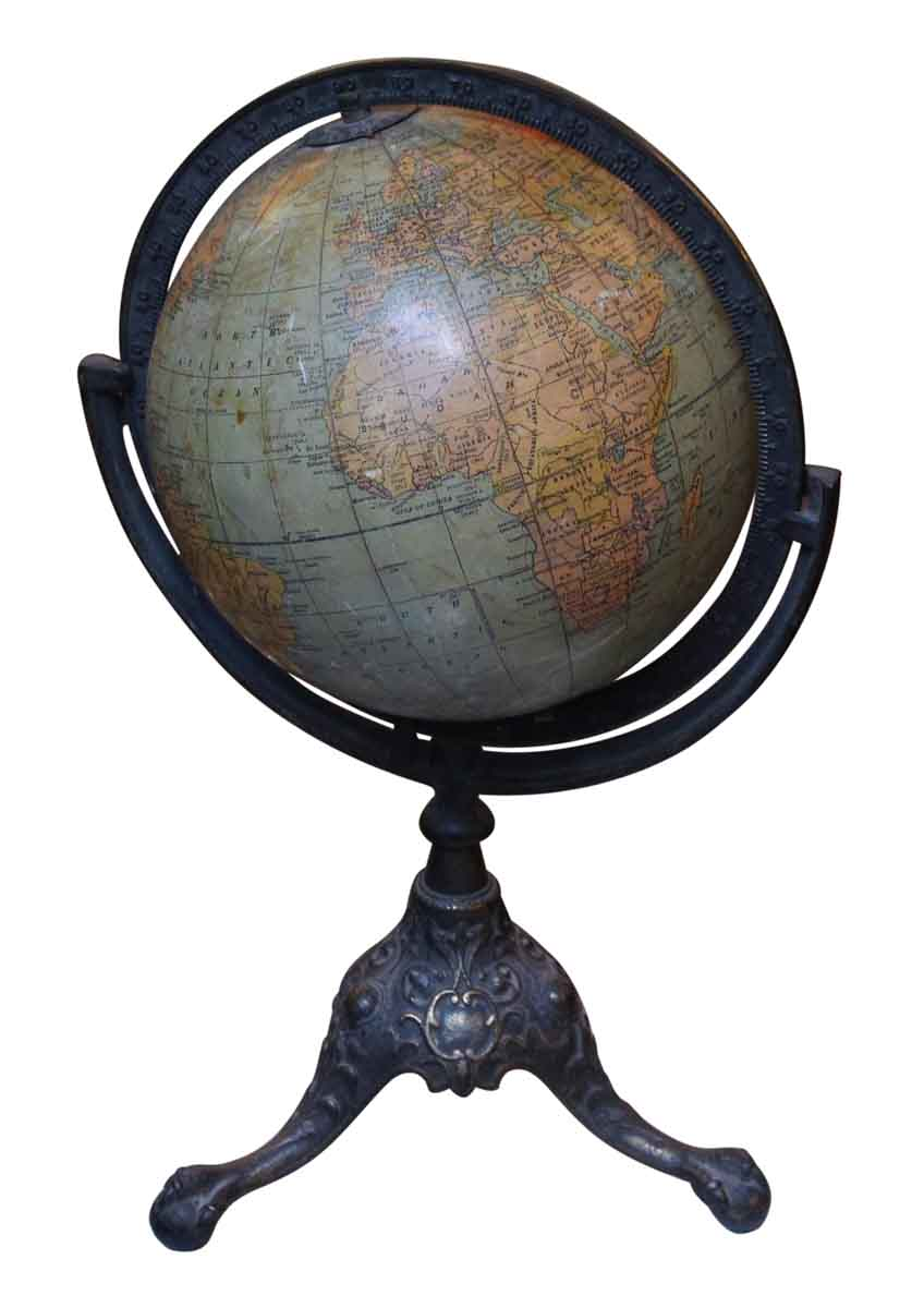 1910 Rand Mcnally Globe With Iron Claw Foot Stand Olde
