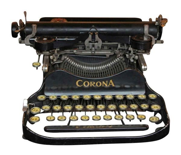 1923 Corona Folding Hebrew Typewriter with Case - Typewriters