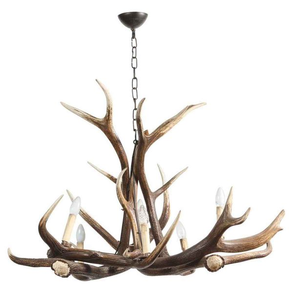 1990s French Imitation Antler Chandelier with Six Lights - Chandeliers
