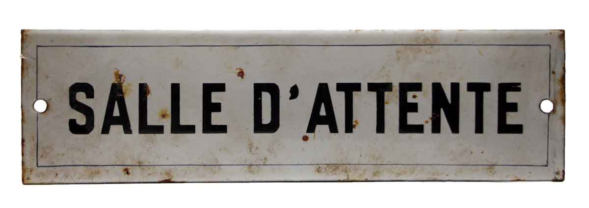 French Waiting Room Sign - Vintage Signs