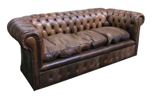 Chesterfield Brown Leather Sofa - Living Room