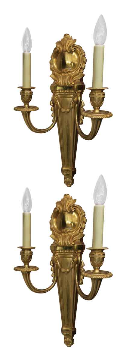 Pair of Louis XV Style Gilded Sconces - Sconces & Wall Lighting
