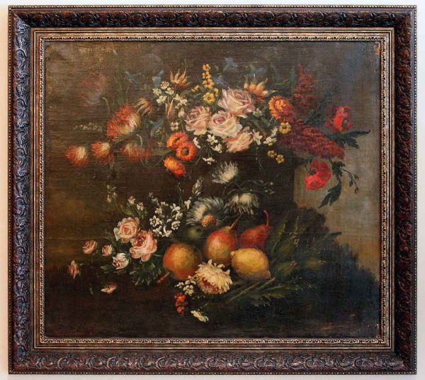 Italian painting of flowers in new frame -