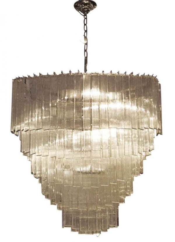 Large Venini 5 tier cascading oval crystal chandelier - Chandeliers