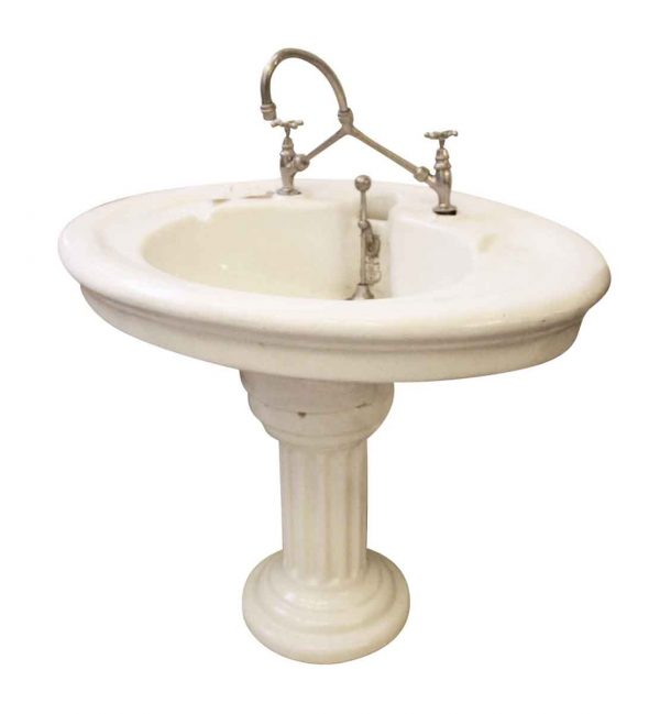1890s English Doulton and Co. Sanitary pedestal sink - Bathroom