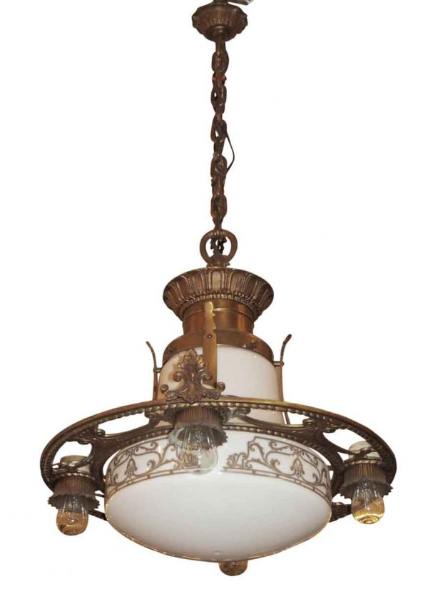 Bronze pendant with milk glass globe - Chandeliers