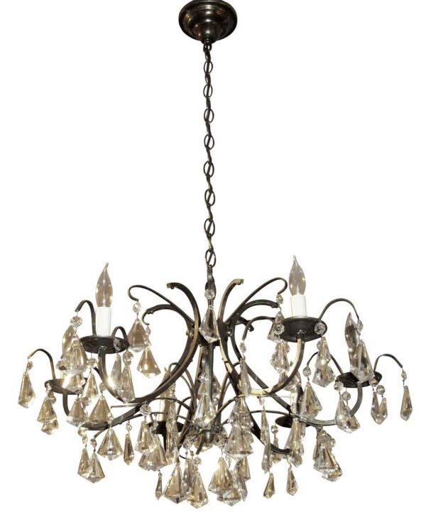Mid Century crystal & iron chandelier - Chandeliers
