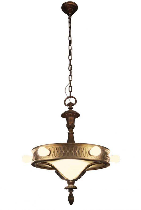 Six Bulb Bronze & Glass Chandelier - Down Lights