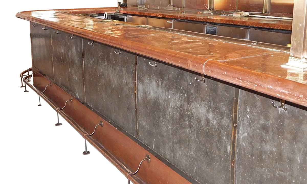 Riveted Steel Bar Front with Hand Hammered Copper Top ...
