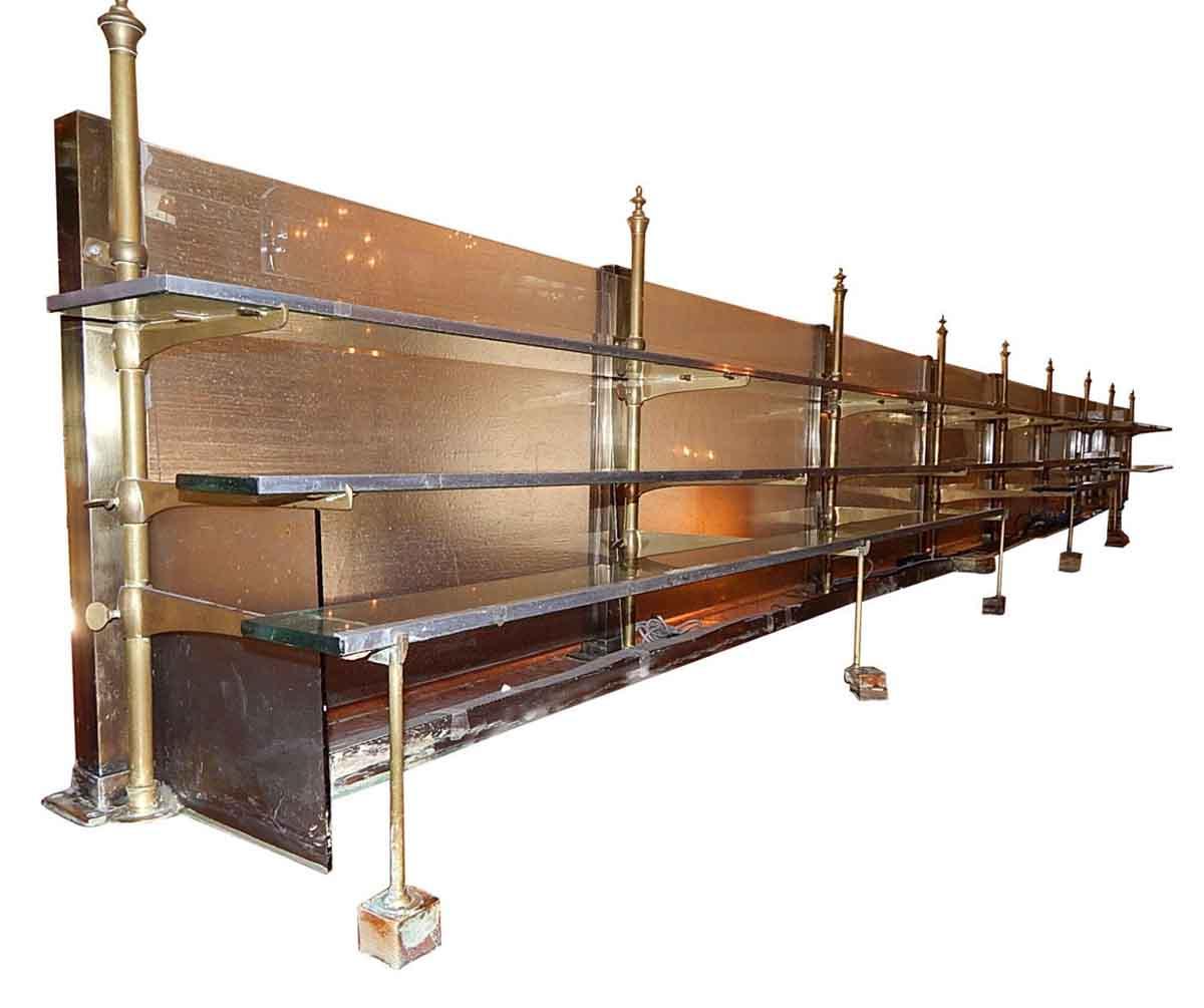 Set of Nine Vintage Back Bar Brass Stanchion Shelf Brackets - Commercial Furniture