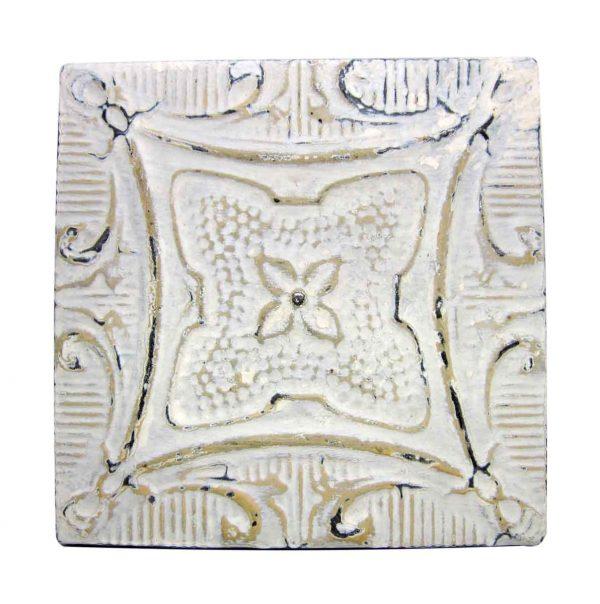 White & Tan 4 Leaf Tin Panel - Tin Panels