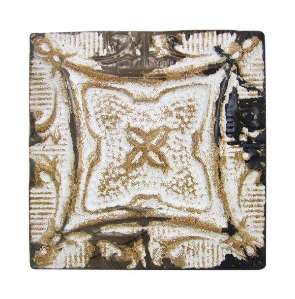 White & Tan 4 Leaf Antique Tin Panel - Tin Panels